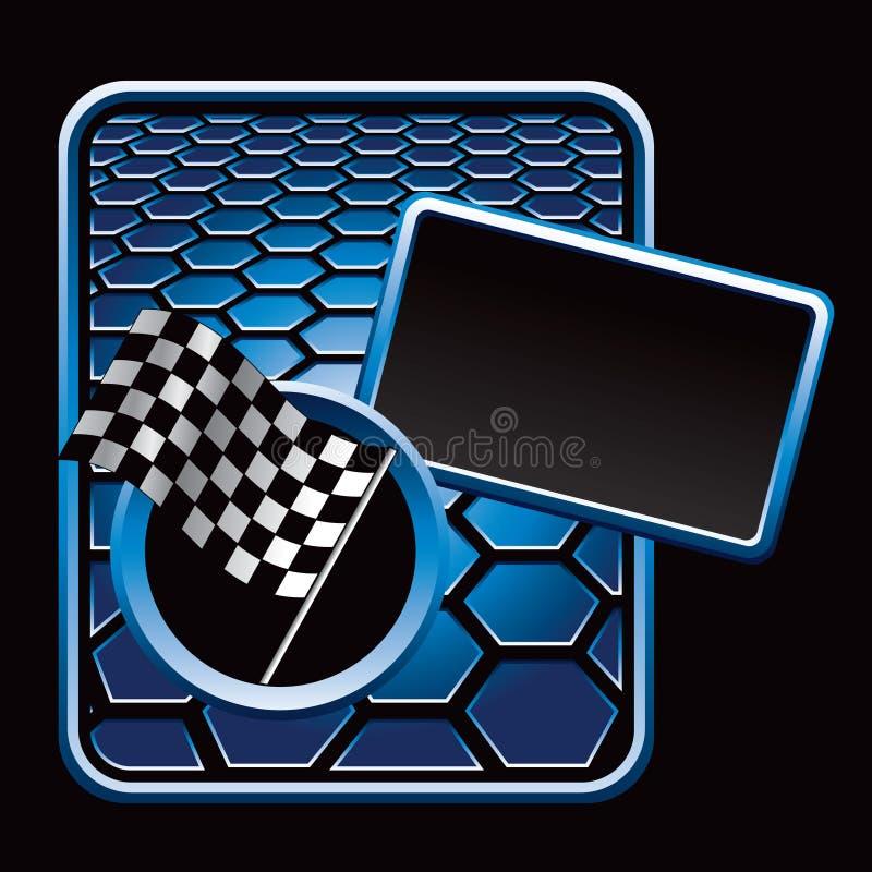 Racing checkered flag on blue hexagon ad