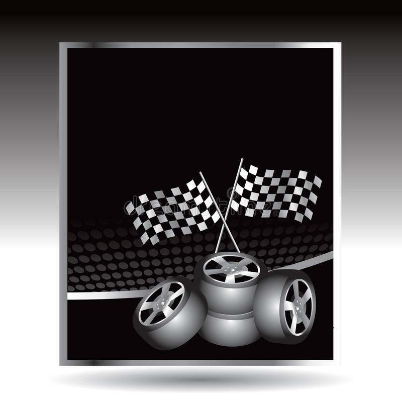 Download Racing Checkered Flags And Tires On Web Buttons Stock Vector - Illustration: 10979776