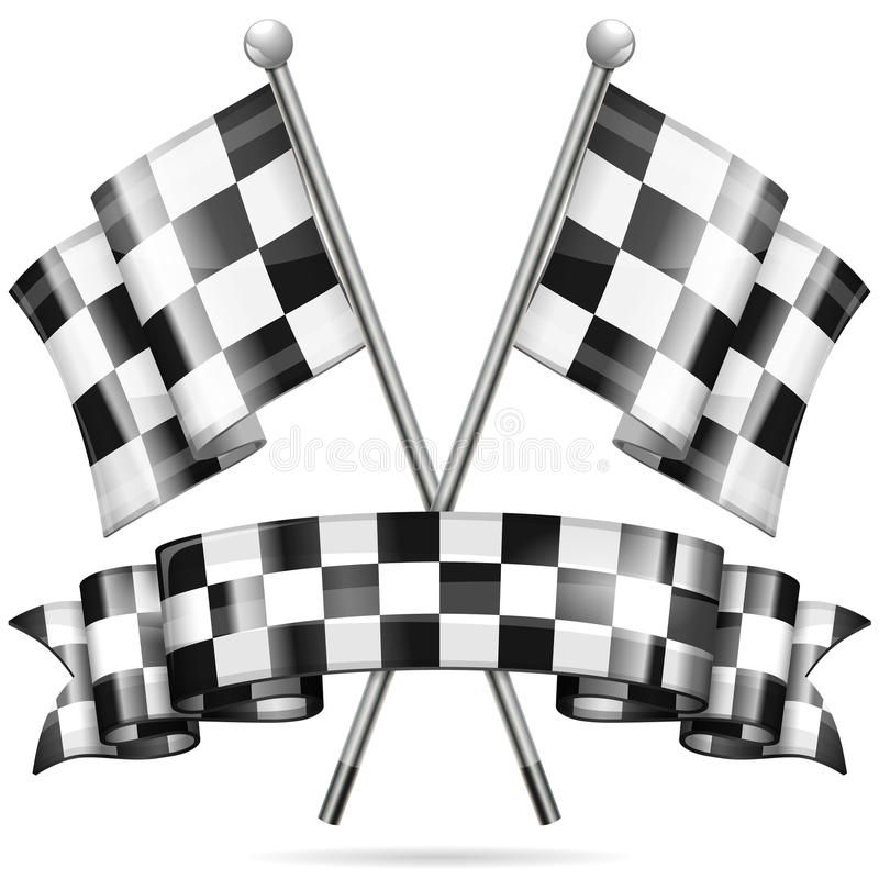 Racing Concept. Checkered Flags and Ribbon, vector isolated on white background vector illustration