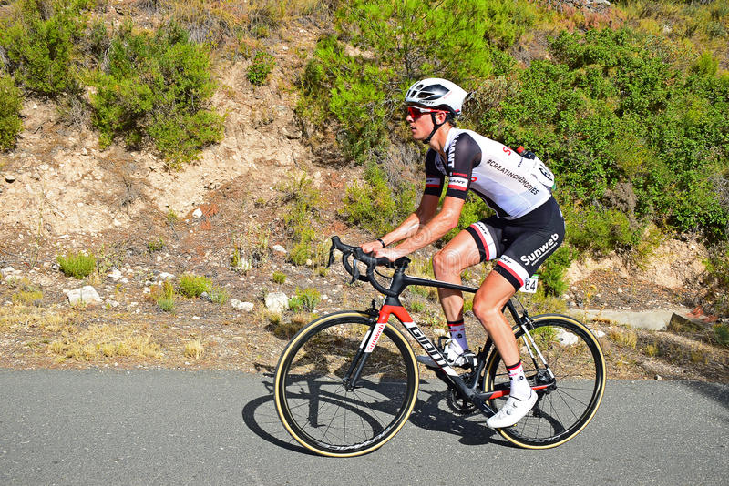 Racing Cyclist Chad Haga Team Sunweb. The rider near to the mountain summit on stage eight Xorret De Cati in the 2017 La Vuelta España bike tour royalty free stock images