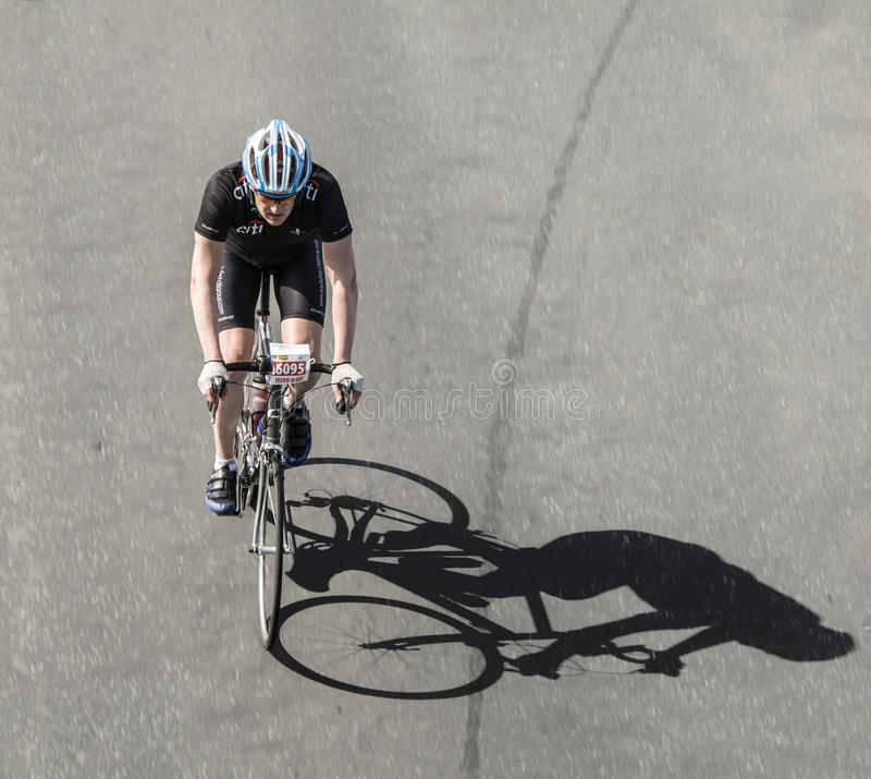 Racing cyclist at famous cycle race Rund um den Henninger Turm royalty free stock photo