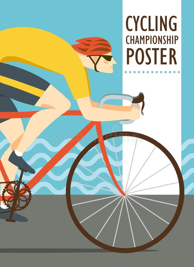 Racing cyclist vitage poster vector illustration