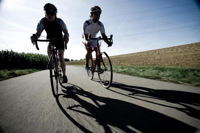 Racing Cyclists on Road royalty free stock photos