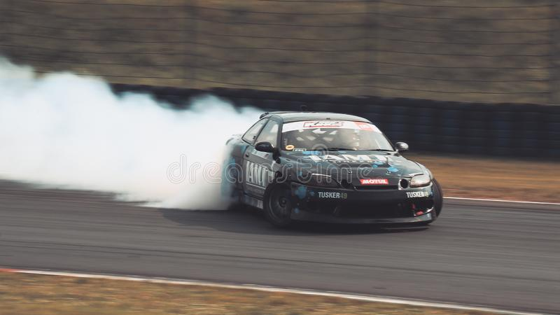 Racing driver Andy Wischnewski driving a Toyota Soarer 2JZ during the Drift Kings International Series at Motorsport Arena. royalty free stock images