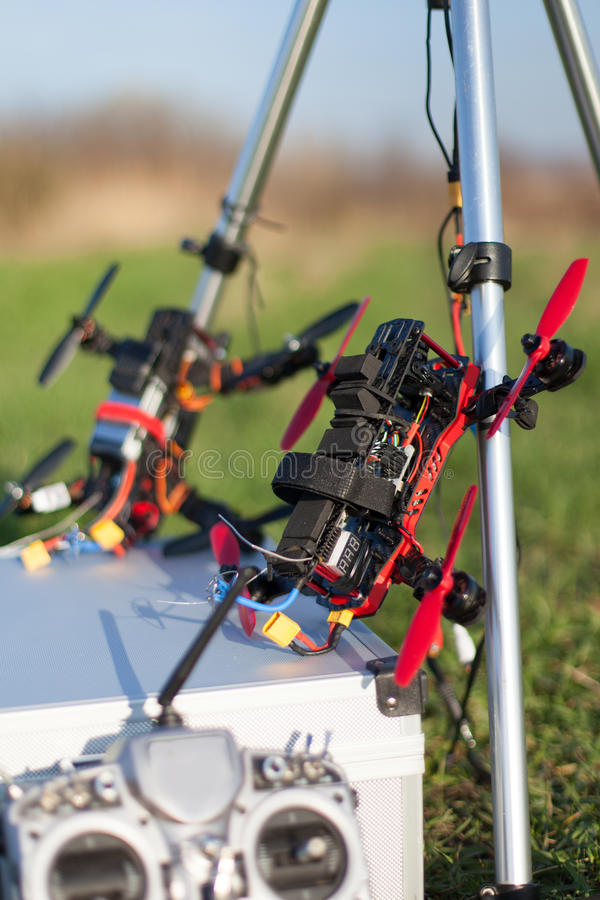 Racing drone. Detail from racing drones in the outdoor royalty free stock photography
