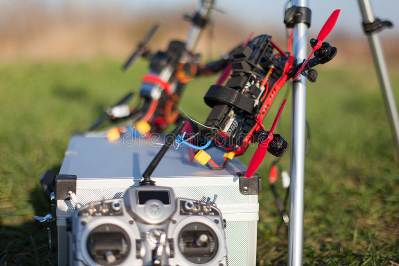 Racing drone. Detail from racing drones in the outdoor royalty free stock photo