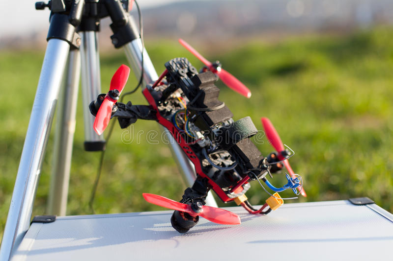Racing drone. Detail from racing drones in the outdoor royalty free stock images