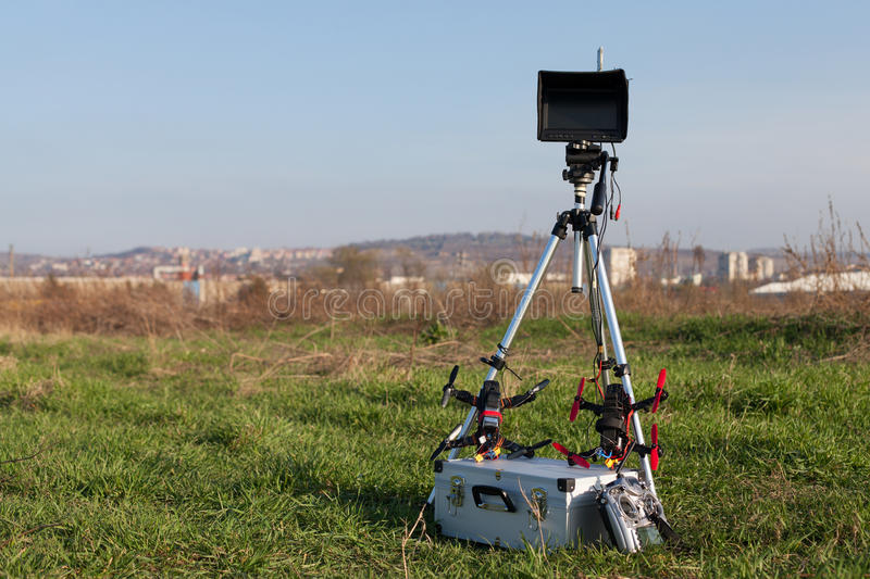 Racing drone station. Drone racing station in the outdoor stock images