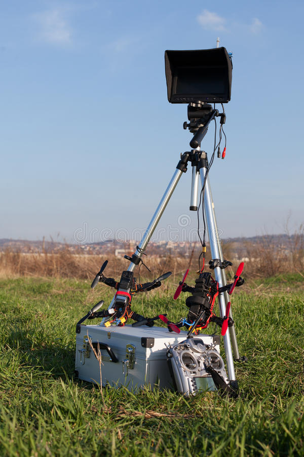 Racing drone station. Drone racing station in the outdoor stock photo