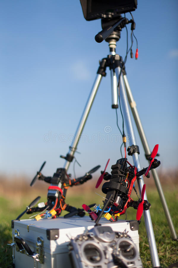 Racing drone station. Drone racing station in the outdoor stock photos