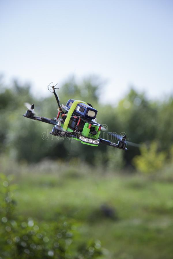Racing drones chasing in the sky.  royalty free stock photos