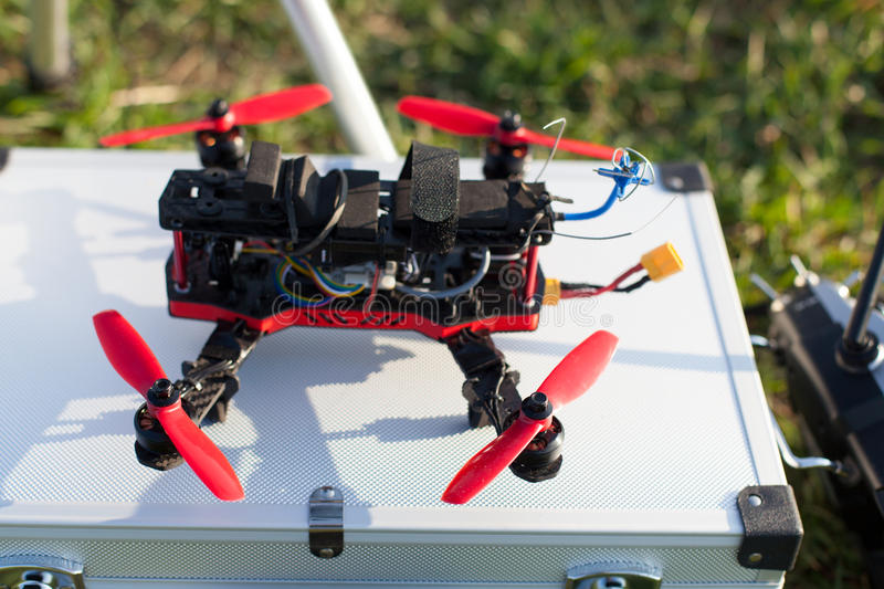 Racing drones. Detail from racing drones in the outdoor stock photography