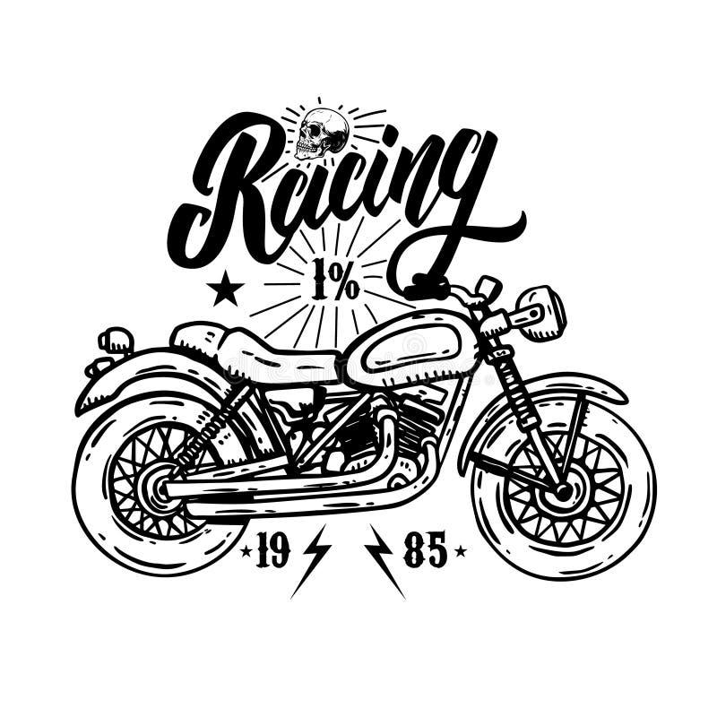 racing Embleemmalplaatje met fietsermotorfiets Ontwerpelement voor affiche, t-shirt, teken, etiket, embleem vector illustratie