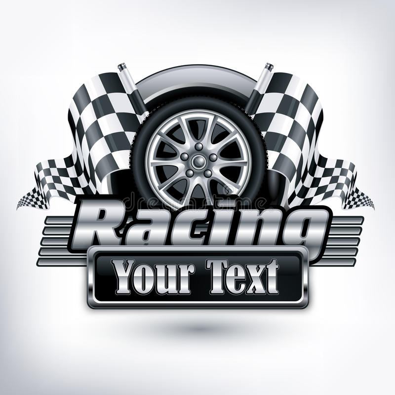 Free Racing Emblem On White & Text Stock Photo - 29400730