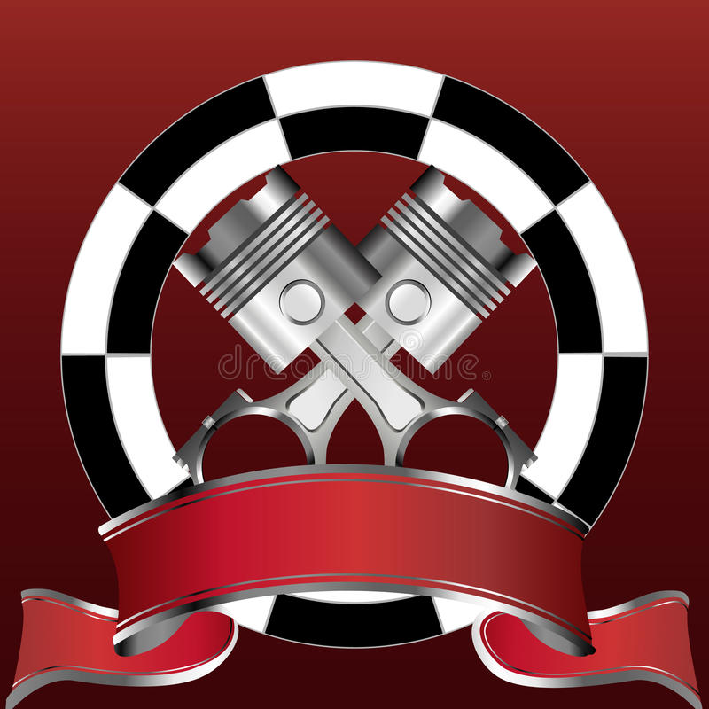 Download Racing Emblem With Piston And Red Banner Stock Vector - Image: 13654130