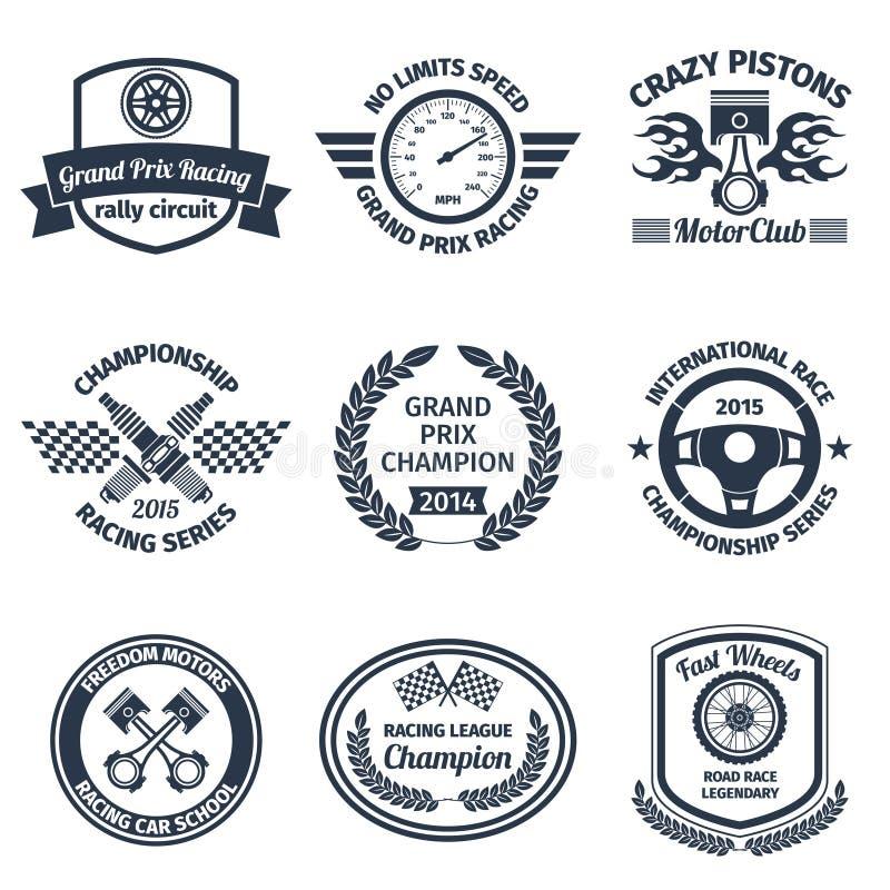 Racing emblems black royalty free illustration