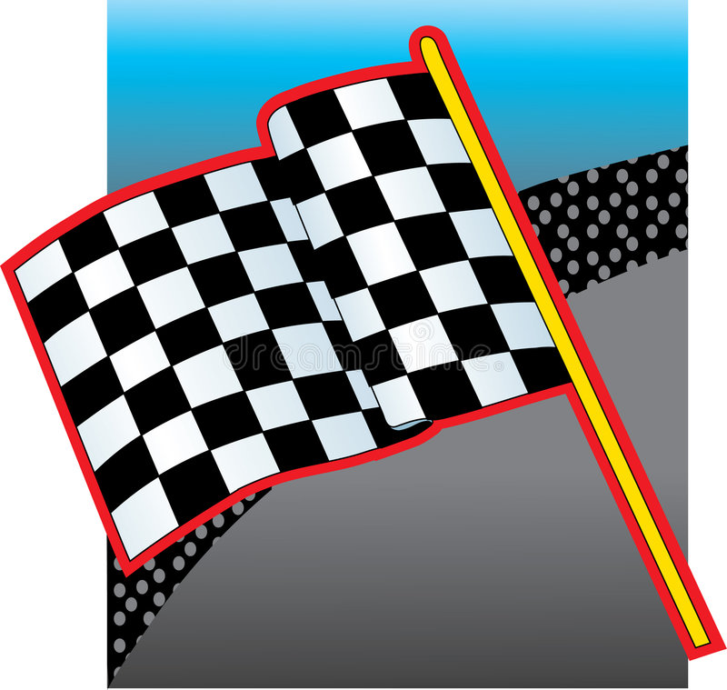 Racing Flag and Crowd stock illustration