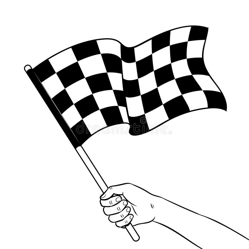 Racing flag in hand coloring book vector stock illustration