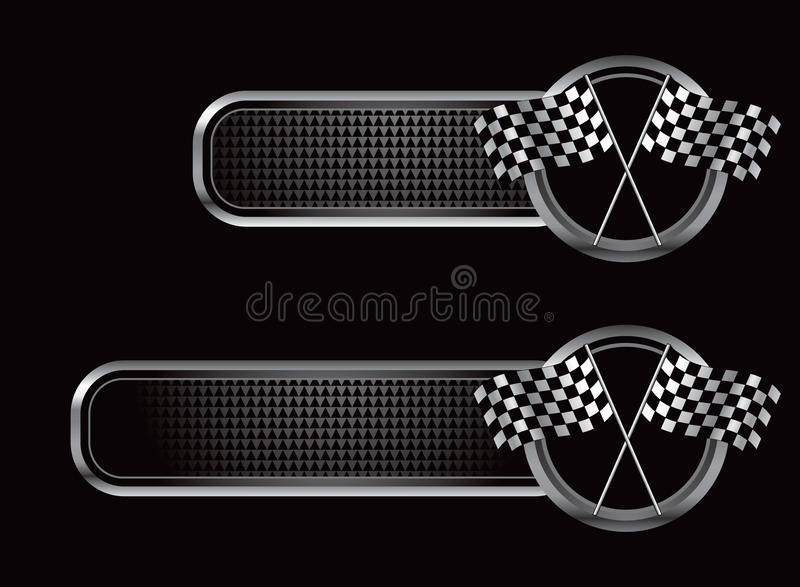 Racing flags on black checkered banners stock photo