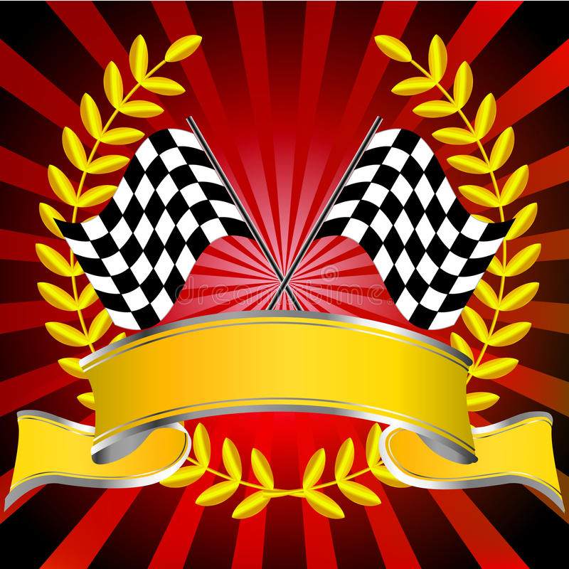 Free Racing Flags In Red With Wreath And Banner Stock Image - 13697191