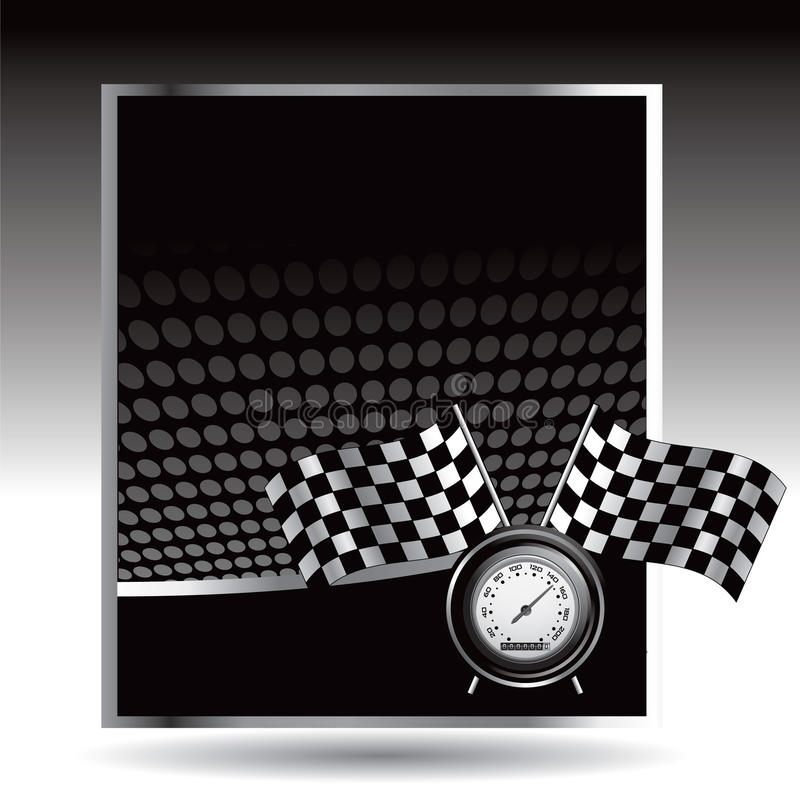 Download Racing Flags And Speedometer On Black Halftone Ad Stock Vector - Illustration of fast, race: 11169660