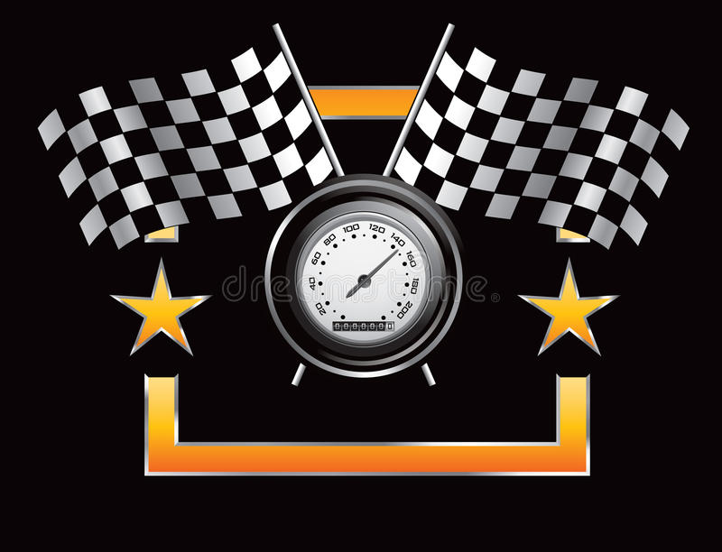 Racing Flags And Speedometer In Orange Star Frame Royalty Free Stock Photo