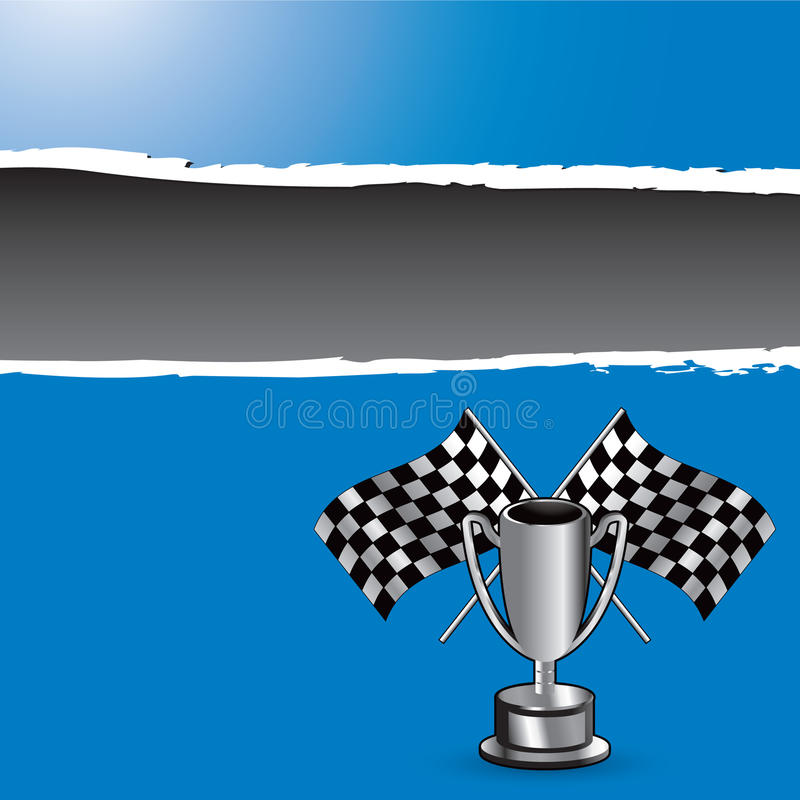 Download Racing Flags And Trophy On Blue Ripped Banner Stock Vector - Image: 11142992