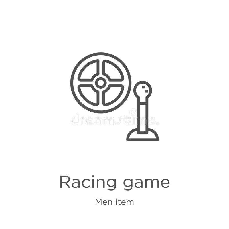 racing game icon vector from men item collection. Thin line racing game outline icon vector illustration. Outline, thin line royalty free illustration