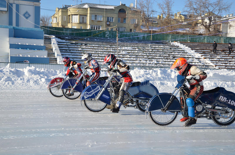 Racing On Ice Track On A Motorcycle Start Editorial Stock Image