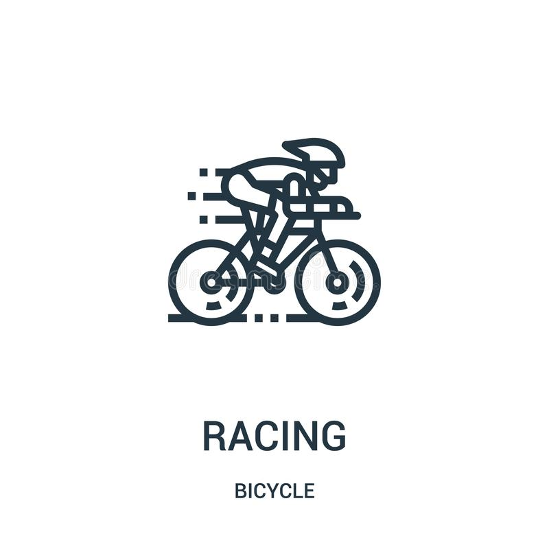 racing icon vector from bicycle collection. Thin line racing outline icon vector illustration. Linear symbol for use on web and royalty free illustration