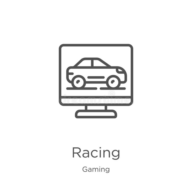 racing icon vector from gaming collection. Thin line racing outline icon vector illustration. Outline, thin line racing icon for stock illustration