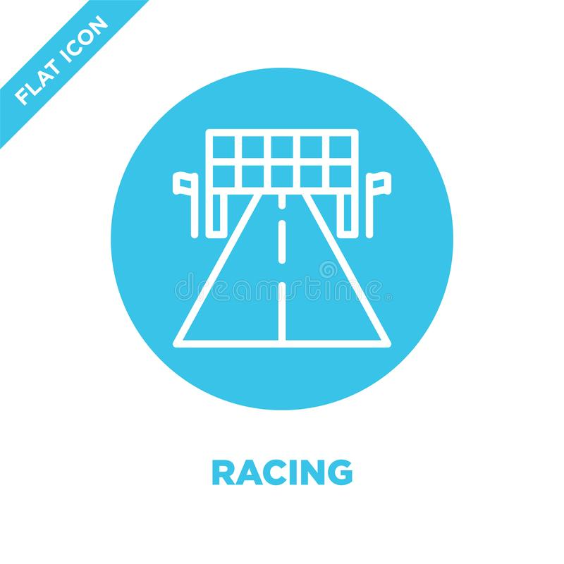 racing icon vector. Thin line racing outline icon vector illustration.racing symbol for use on web and mobile apps, logo, print royalty free illustration