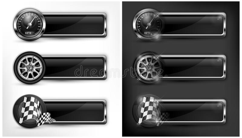 Racing icons. Speedometer, checkered flags and wheels, vector illustration