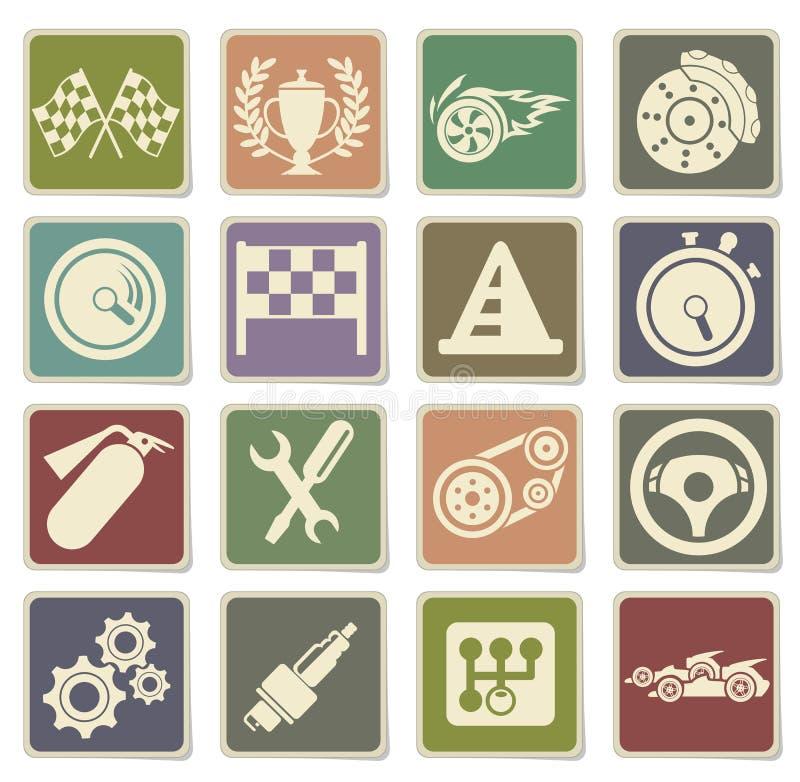 Racing icons set royalty free illustration