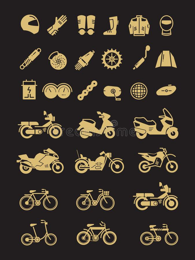 Racing motorcycle, bicycle, motorbike parts and transportation vector icons vector illustration