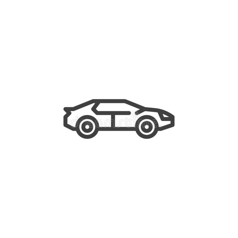 Racing muscle car line icon. Linear style sign for mobile concept and web design. Hatchback car outline vector icon. Symbol, logo illustration. Vector graphics royalty free illustration