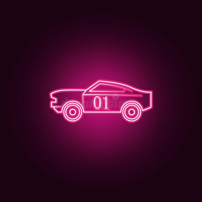 Racing muscle car neon icon. Elements of bigfoot car set. Simple icon for websites, web design, mobile app, info graphics. On dark gradient background royalty free illustration