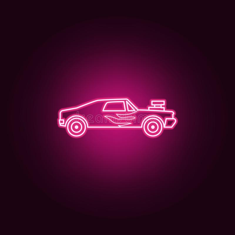 Racing muscle car neon icon. Elements of bigfoot car set. Simple icon for websites, web design, mobile app, info graphics. On dark gradient background vector illustration