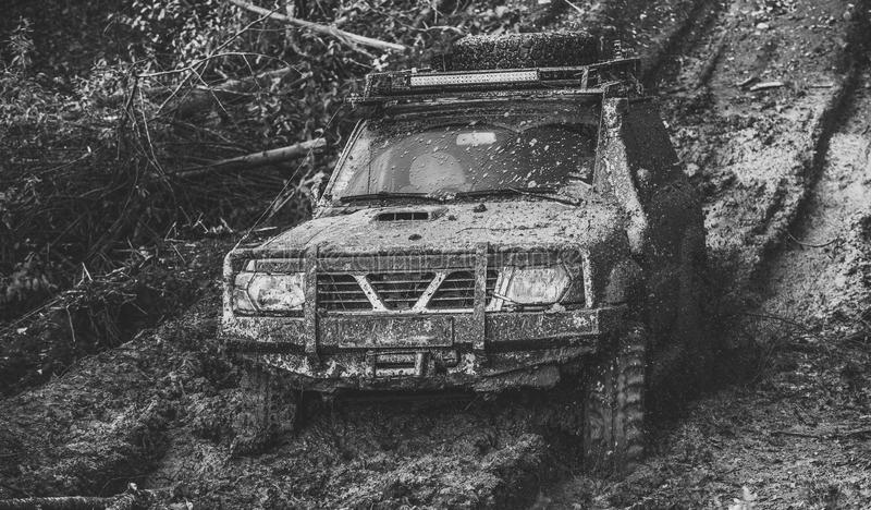 Racing off-road cars. Dirty offroad car with nature on background. SUV covered with dirt on path covered with mud. Crossover driving through deep rut with stock image