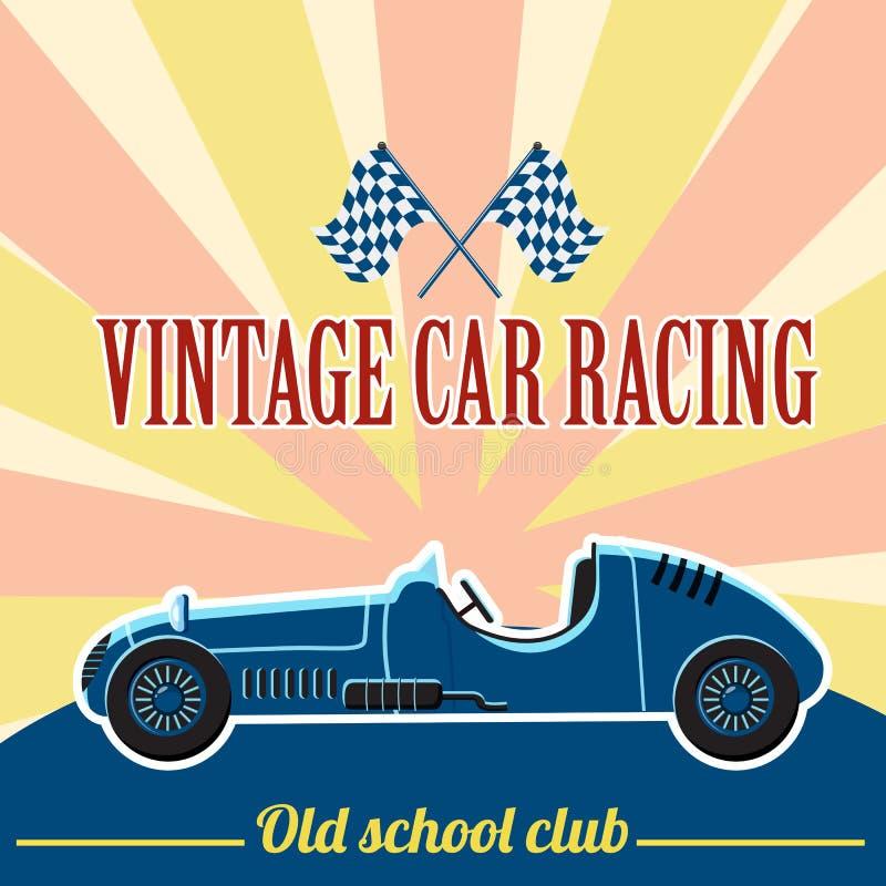 Racing retro car concept, flat style royalty free illustration