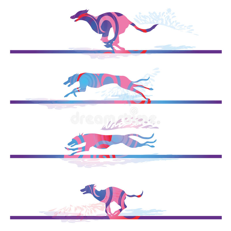 Racing and running dogs royalty free illustration