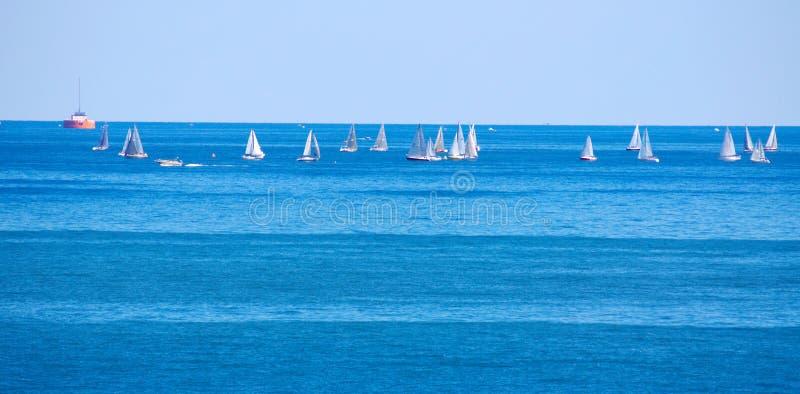 Racing sailboats. Cluster of racing sailboats on a Great Lake royalty free stock image