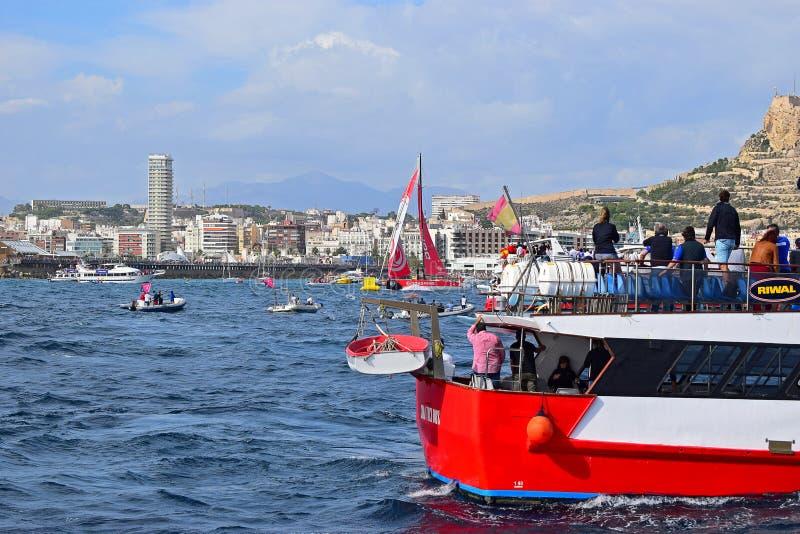 Racing Between The Spectator Boats Volvo Ocean Race Alicante 2017 royalty free stock image