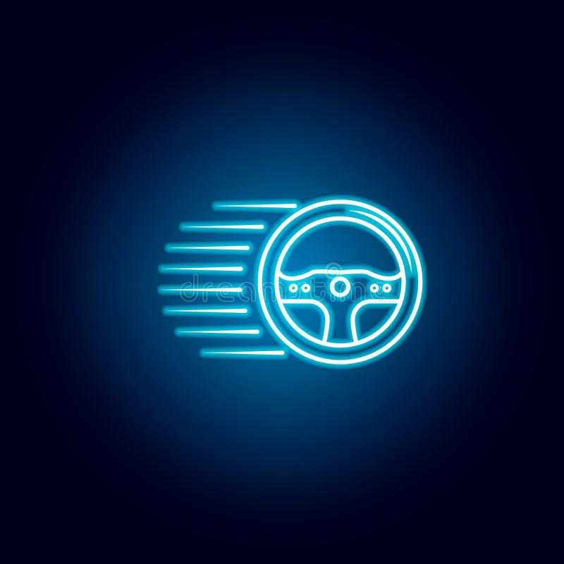 Racing steering wheel icon in blue neon style. Element of racing for mobile concept and web apps icon. Thin line icon for website. Design and development, app stock illustration