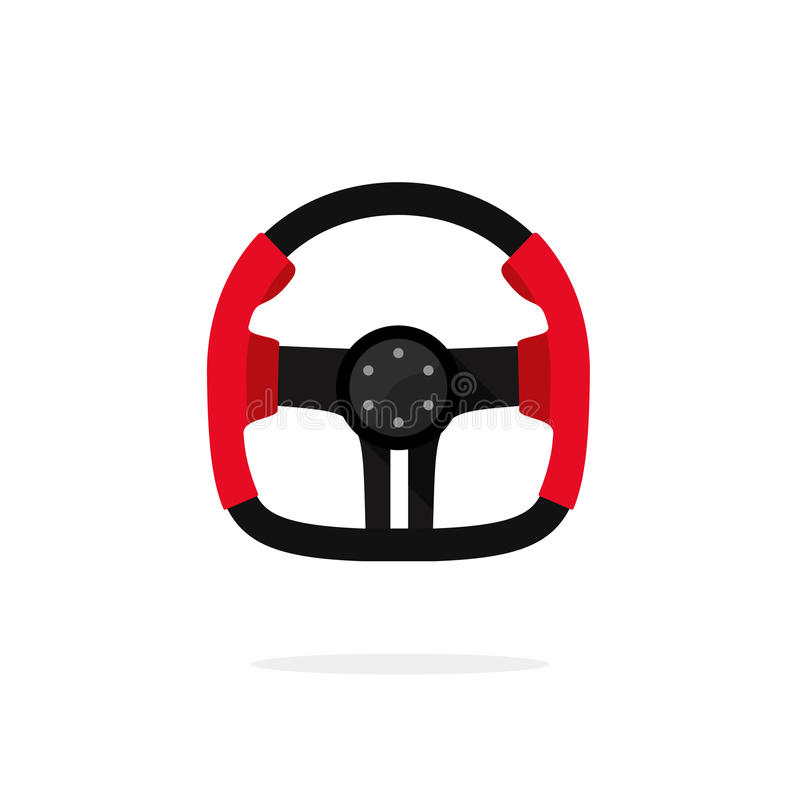 Racing steering wheel icon isolated, creative auto part logo,. Steering wheel from sport car, retro F1 wheel concept, auto part, element, flat icon, modern royalty free illustration