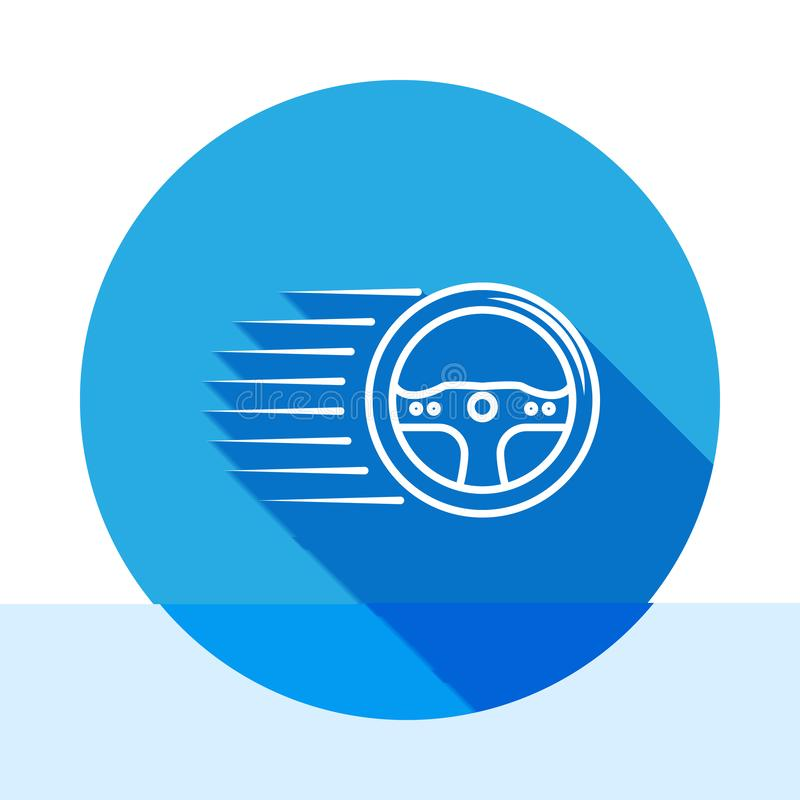 Racing steering wheel icon with long shadow. Element of racing for mobile concept and web apps icon. Thin line icon for website. Design and development, app vector illustration