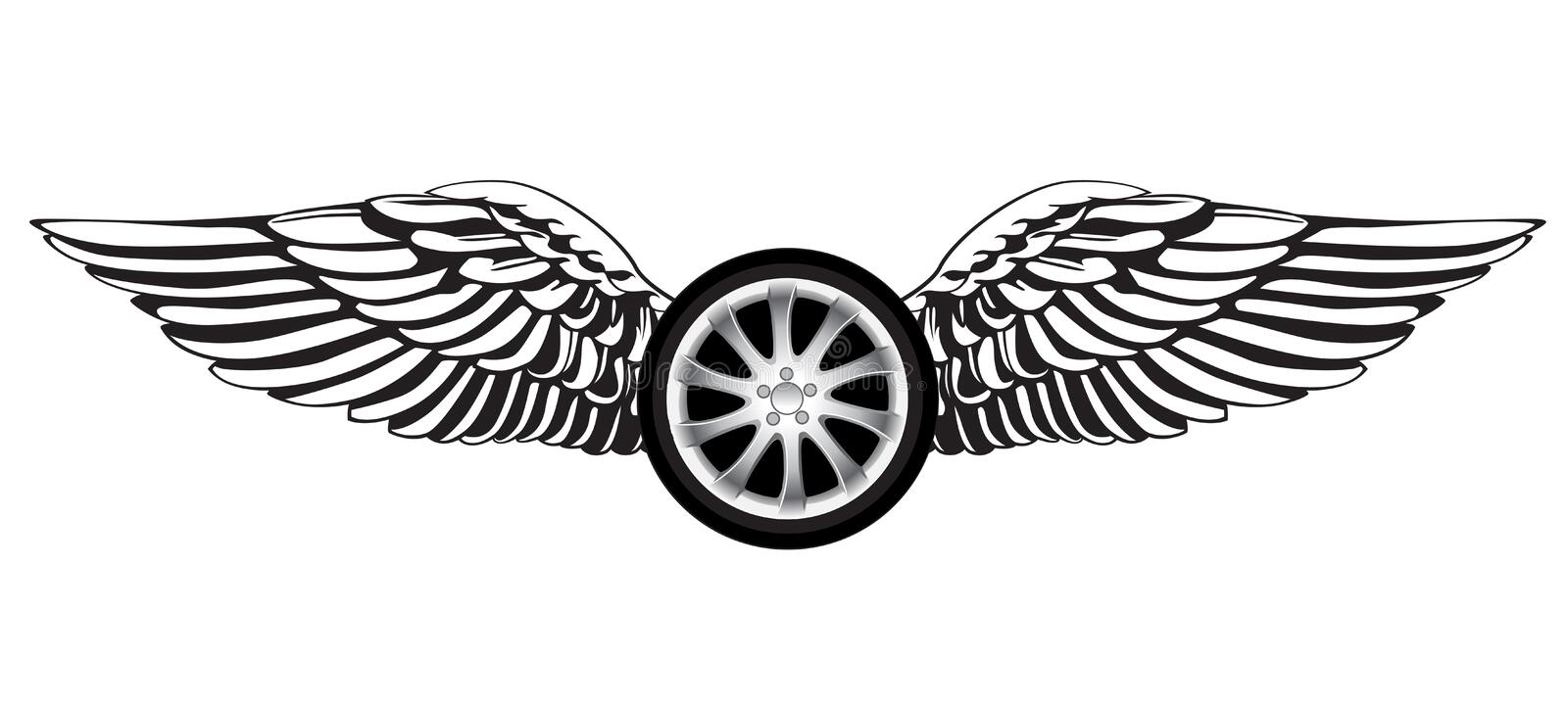 Racing symbol. Wheel with angel wings as a racing symbol or emblem vector illustration