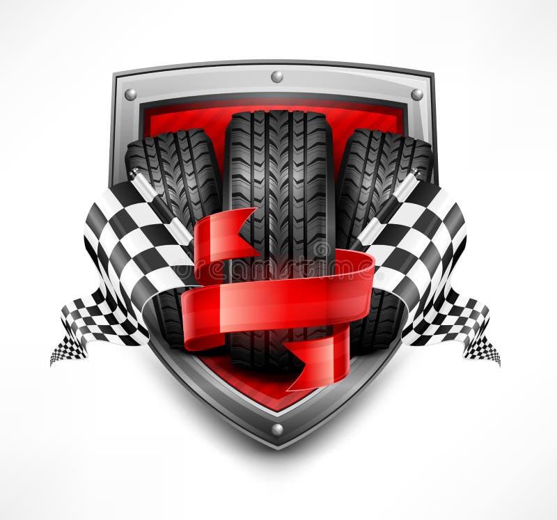 Racing symbols on shield stock illustration