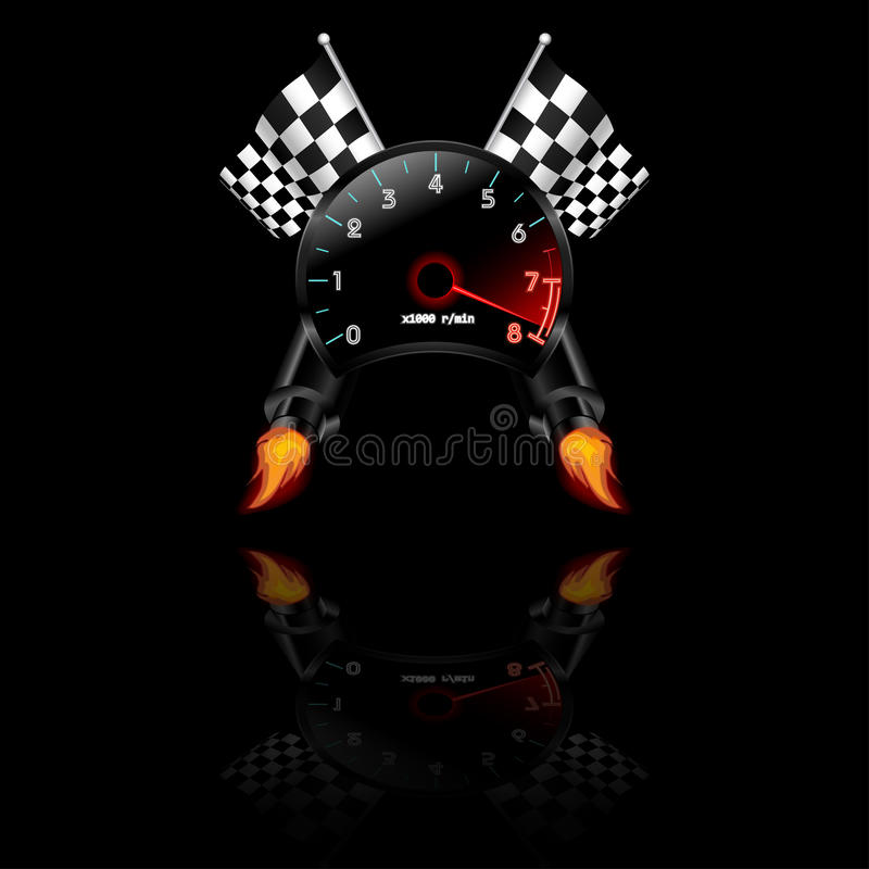 Free Racing Theme With Reflections. Many Objects Included Like Flag, Tachometer, Exhaust. Vector Royalty Free Stock Images - 65560099