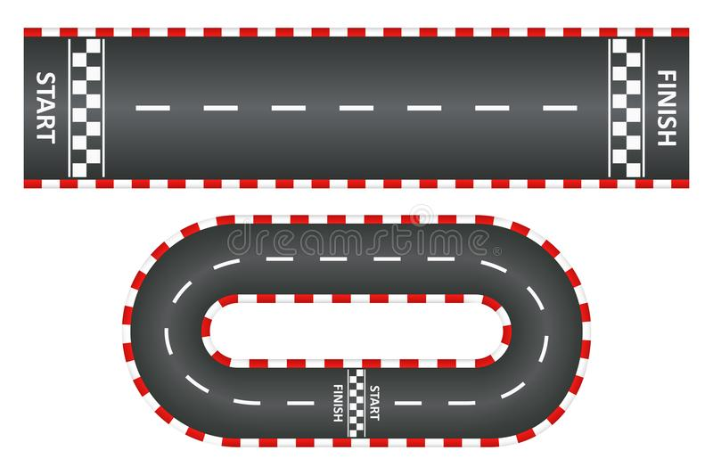 Racing track, top view of asphalt roads set, kart race with start and finish line. Vector. Racing track, top view of asphalt roads set, kart race with start and vector illustration